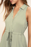 Others Follow Maddox Washed Olive Green Shirt Dress 5