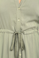 Others Follow Maddox Washed Olive Green Shirt Dress 6