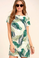 Give Me a Print Ivory and Green Print Shift Dress 1