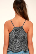 Look at Me Now Black and White Print Crop Top