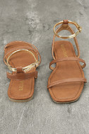 Marnina Tan and Gold Ankle Strap Flat Sandals 3