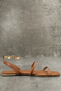 Marnina Tan and Gold Ankle Strap Flat Sandals 4