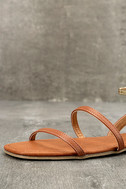 Marnina Tan and Gold Ankle Strap Flat Sandals 6