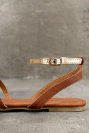 Marnina Tan and Gold Ankle Strap Flat Sandals 7