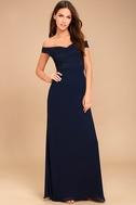 Dress to Impress Navy Blue Lace Off-the-Shoulder Maxi Dress 1