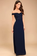 Dress to Impress Navy Blue Lace Off-the-Shoulder Maxi Dress 3