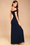 Dress to Impress Navy Blue Lace Off-the-Shoulder Maxi Dress 4