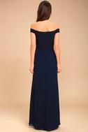 Dress to Impress Navy Blue Lace Off-the-Shoulder Maxi Dress 5