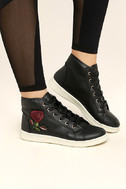 Cynara Black Embroidered High-Top Sneakers 2