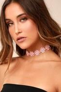 Wildflower Power Blush Pink Lace Choker Necklace 1