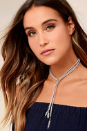 Tell Them a Tale Silver and Grey Lariat Necklace 1