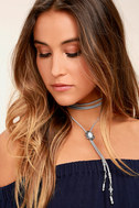 Grainne Silver and Grey Lariat Necklace 1