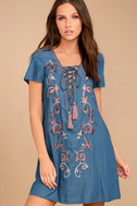 Down in Kokomo Blue Chambray Embroidered Shift Dress 1