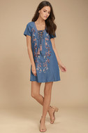 Down in Kokomo Blue Chambray Embroidered Shift Dress 2