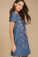 Down in Kokomo Blue Chambray Embroidered Shift Dress 3