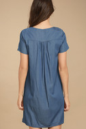 Down in Kokomo Blue Chambray Embroidered Shift Dress 4