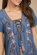 Down in Kokomo Blue Chambray Embroidered Shift Dress 5