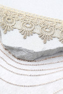 More than Yesterday Gold Lace Layered Choker Necklace 2
