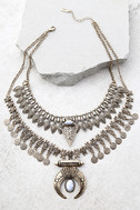 Entranced by You White and Gold Layered Statement Necklace 1