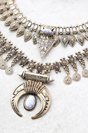 Entranced by You White and Gold Layered Statement Necklace 2
