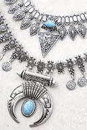 Entranced by You Turquoise and Silver Layered Statement Necklace 2