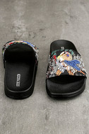 Steve Madden Sparkly Black Multi Slide Sandals 3