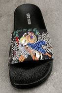 Steve Madden Sparkly Black Multi Slide Sandals 5