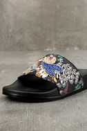 Steve Madden Sparkly Black Multi Slide Sandals 6