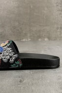 Steve Madden Sparkly Black Multi Slide Sandals 7