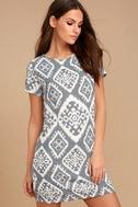 Give Me a Print Slate Grey Print Shift Dress 1