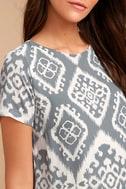 Give Me a Print Slate Grey Print Shift Dress 5