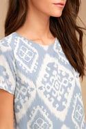 Give Me a Print Light Blue Print Shift Dress 5