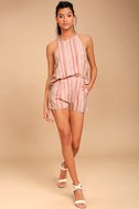 See You Smile Blush Pink Striped Romper 2