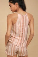See You Smile Blush Pink Striped Romper 3
