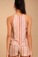 See You Smile Blush Pink Striped Romper 4