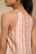 See You Smile Blush Pink Striped Romper 5