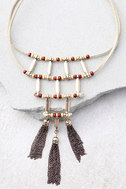 Plentiful Rust Red and Beige Choker Necklace 1