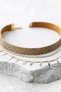 Standard of Perfection Brown and Gold Layered Choker Necklace 2