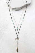 Arrow Expert Black and Gold Layered Necklace 1