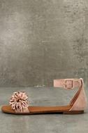 Jocasa Blush Suede Fringe Flat Sandals 1
