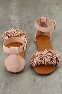 Jocasa Blush Suede Fringe Flat Sandals 3