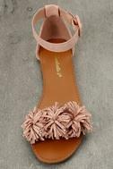 Jocasa Blush Suede Fringe Flat Sandals 5