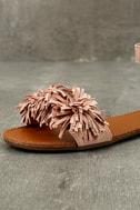 Jocasa Blush Suede Fringe Flat Sandals 6