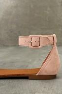 Jocasa Blush Suede Fringe Flat Sandals 7