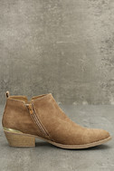 Marzia Camel Distressed Ankle Booties 4