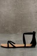 Brietta Black Suede Flat Sandals 1