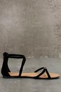 Brietta Black Suede Flat Sandals 4