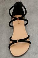 Brietta Black Suede Flat Sandals 5