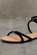 Brietta Black Suede Flat Sandals 6