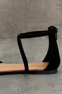 Brietta Black Suede Flat Sandals 7